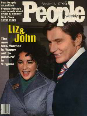 Liz Taylor and John Warner, People Magazine, Feb 1977